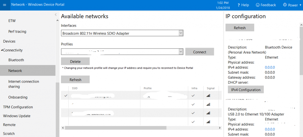 Viewing Available Networks in Windows 10 IoT Core Device Portal