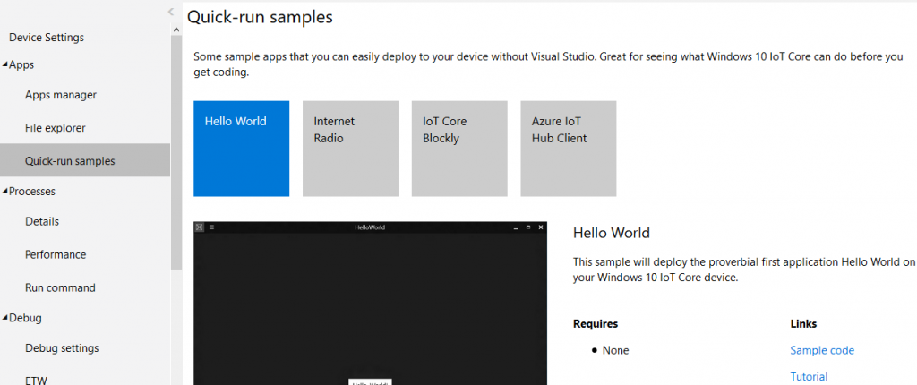 Windows 10 Iot Core App Samples