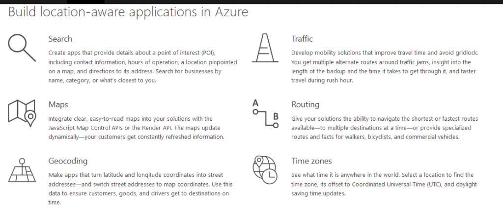 Azure Maps Offerings